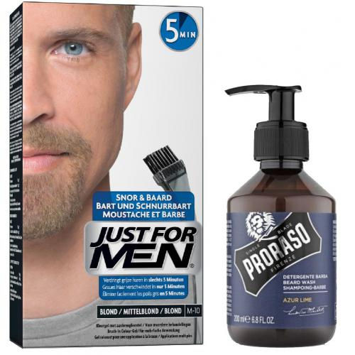 Just For Men - COLORATION BARBE Blond & Shampoing à Barbe 200ml Azur Lime - Just for men coloration barbe
