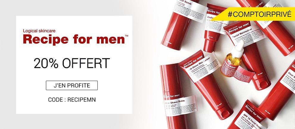 20% offert sur Recipe for men