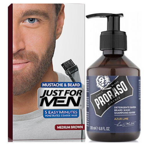Just For Men - COLORATION BARBE Châtain & Shampoing à Barbe 200ml Azur Lime - Just for men coloration barbe