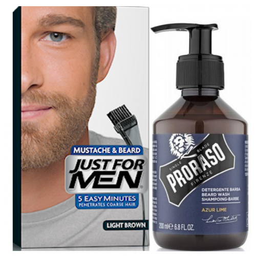 Just For Men - COLORATION BARBE Châtain Clair & Shampoing à Barbe 200ml Azur Lime - Just for men coloration barbe