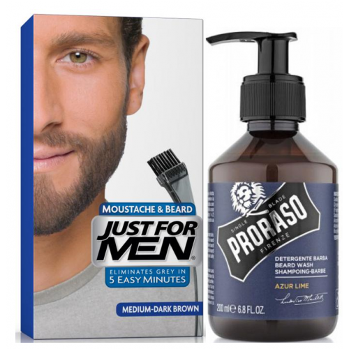 Just For Men - COLORATION BARBE Châtain Moyen Foncé & Shampoing à Barbe 200ml Azur Lime - Just for men coloration barbe