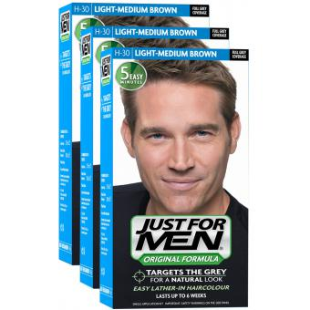 pack 3 colorations cheveux homme chatain moyen clair couleur naturelle just for men - Shampoing Colorant Homme