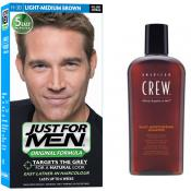 Just For Men Homme - COLORATION CHEVEUX HOMME CHATAIN MOYEN CLAIR COULEUR NATURELLE & SHAMPOING - Coloration Cheveux & Barbe