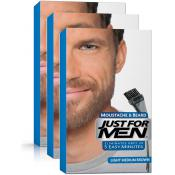 Just For Men Homme - PACK 3 COLORATIONS BARBE CHÂTAIN MOYEN CLAIR COULEUR NATURELLE - Coloration Cheveux & Barbe
