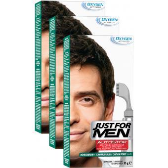 PACK 3 AUTOSTOP Châtain Foncé - Coloration Cheveux Homme - Just For Men