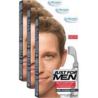 PACK 3 AUTOSTOP Blond - Coloration Cheveux Homme - Just For Men
