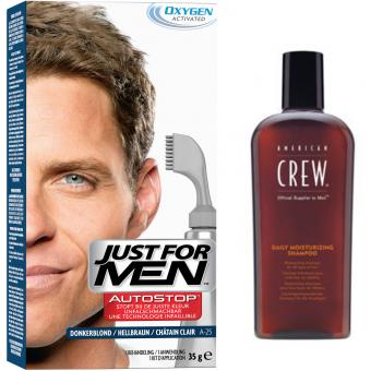 PACK AUTOSTOP & SHAMPOING Châtain Clair - Coloration Cheveux Homme - Just For Men