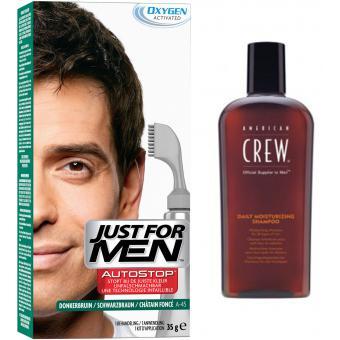 PACK AUTOSTOP & SHAMPOING Châtain Foncé - Coloration Cheveux Homme - Just For Men