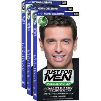 PACK 3 COLORATIONS CHEVEUX HOMME CHATAIN MOYEN FONCE COULEUR NATURELLE - Just For Men