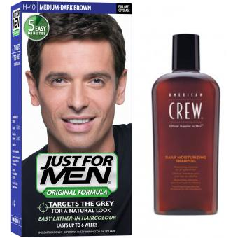 PACK COLORATION CHEVEUX HOMME CHATAIN MOYEN FONCE COULEUR NATURELLE & SHAMPOING - Just For Men
