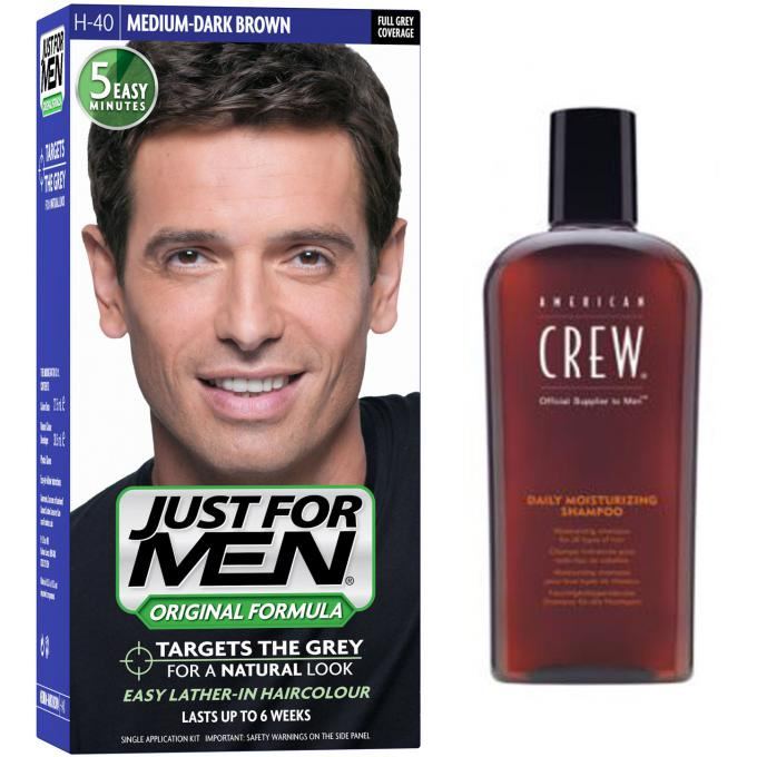 PACK COLORATION CHEVEUX HOMME CHATAIN MOYEN FONCE COULEUR NATURELLE & SHAMPOING