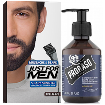 Just For Men - COLORATION BARBE Noir Naturel & Shampoing à Barbe 200ml Azur Lime - Produits pour entretenir sa barbe