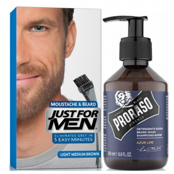 Just For Men - COLORATION BARBE Chatain Moyen Clair & Shampoing à Barbe 200ml Azur Lime - Produits pour entretenir sa barbe