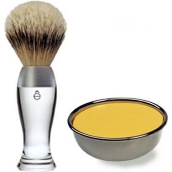 Pack Rasage Blaireau Transparent & Savon À Raser - E Shave