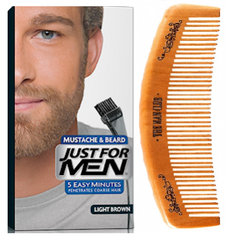 Just For Men - PACK COLORATION BARBE ET PEIGNE BARBIER Châtain Clair - Coloration just for men