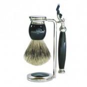 Edwin Jagger Homme - Set de rasage noir Mach3® - Rasoir & blaireau