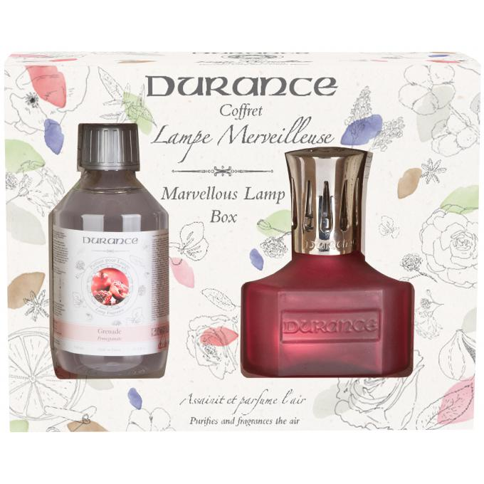 Coffret lampe merveilleuse bordeaux recharge grenade 250ml durance parfum - Durance parfum d ambiance ...
