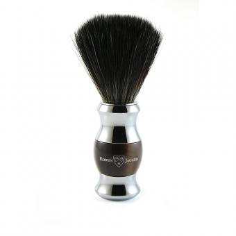 36 Range Shaving brush, black synthetic fibre, imitation light horn, chrome plated