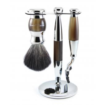 SET DE RASAGE EDWIN JAGGER NOIR ET CHROME 3 PIECES