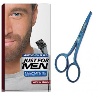 Just For Men - PACK COLORATION BARBE CHATAIN ET CISEAUX A BARBE - Coloration just for men