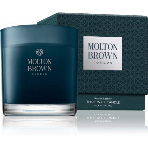 Molton Brown - Bougie 3 Mèches Russian Leather - Parfum Homme